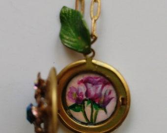 Crystal embellished pink floral locket