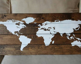 Adventure awaits world map wood sign farmhouse style signs world map wood sign shabby chic rustic wood sign farmhouse decor hand painted made in canada gumiabroncs Image collections