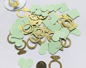 Ring and Heart paper confetti- Bridal shower decoration- Bachelorette party decoration- Ring and Heart Table Decoration- 50 pcs confetti