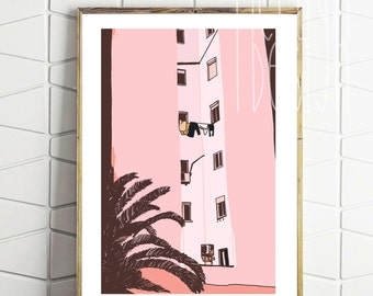PINK BUILDING ARCHITECTURE  | Wall art | graphic design | home decoration |