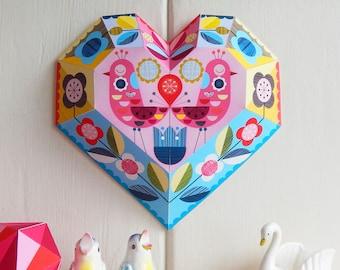 DIY paper, heart, wall decor