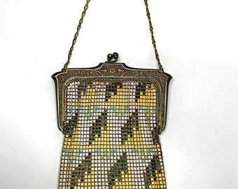 Whiting & Davis Mesh Evening Bag, Purse, Flapper, Art Deco, 1920's