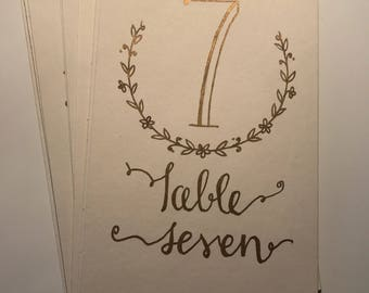 Gold and cream wedding table numbers