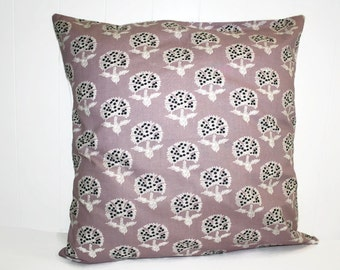 Decorative Lilac Floral Throw Pillow, Home Decor 16x16 Pillow Cover