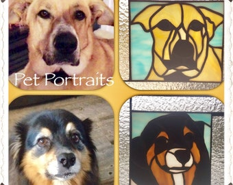 Custom Stained Glass Pet Portraits.