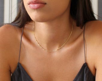 Beaded Chain Layered Necklace, Layering Dainty Satellite Chain, Everyday Necklace, Delicate Gold Necklace, Dainty Necklace, Minimalist