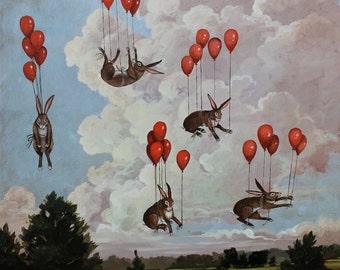 Balloon Bunnies by Elizabeth Foster art print