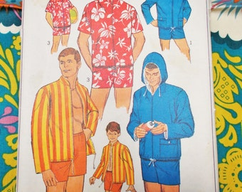 "Simplicity Sewing Pattern - 1967 - Man's Beach Wear - Size small chest 34"" to 36"" - Mpn 7146 - Part used and complete"