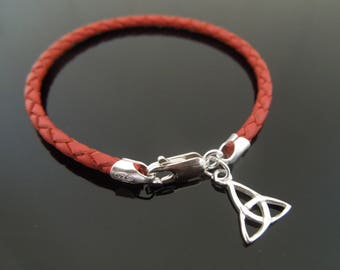 3mm Red Braided Leather Bracelet With 925 Sterling Silver Triquetra Trinity Knot Charm