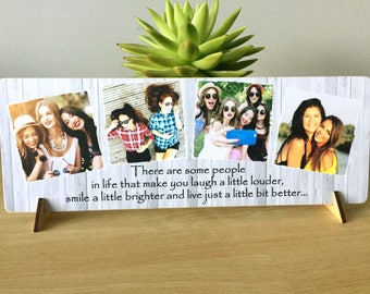 "11x4"" Personalised Photo & Text Plaque Best Friend Friendship gift present NEW"