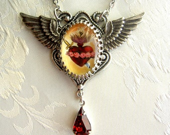 Immaculate Sacred Heart of Mary Necklace with Wings and Ruby Drop - Silvertone Version