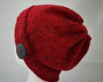 Hand Knit Cloche Hat with Large Button, Hand Knit Beanie, Burgundy Red Womens Slouchy Hat