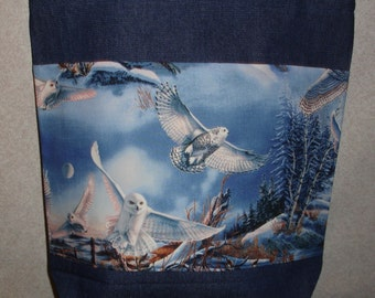 New Handmade Snowy Owl Wildlife Nature Bird Large Denim Tote Bag