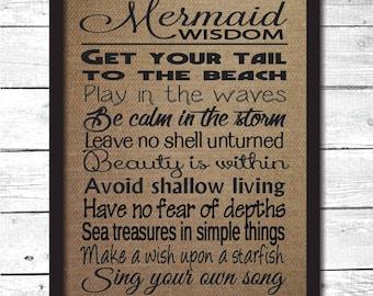 mermaid, mermaid gift, mermaid sign, mermaid wisdom, mermaid print, mermaid decoration, mermaid wall art, mermaid decor, mermaid rules, B4