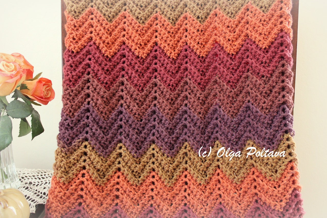 Hello Fall Ripple Lapghan Afghan Baby Blanket Any Size