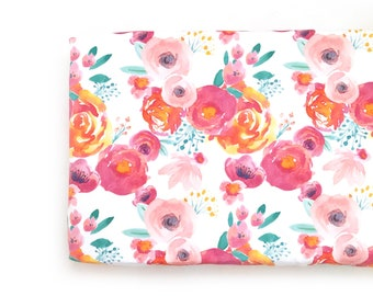 Changing Pad Cover Indy Bloom White. Change Pad. Changing Pad. Floral Changing Pad Cover. Changing Pad Girl.