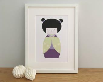 Japanese Geisha Art Print, Kokeshi Doll Art Print, Japanese Doll Art Print, Pastel Nursery Print, Japanese Style, Japanese Decor, Kokeshi
