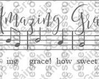 Svg sheet music, Amazing Grace sheet music, Sheet music SVG, and PNG Digital File- SVG Files for Cricut or Silhouette