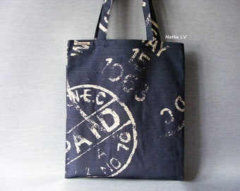 Tote bag, canvas shopping bag, cotton bag, bag with print, dark blue grocery bag, summer bag, market bag, beach bag, bridal bag, handmade