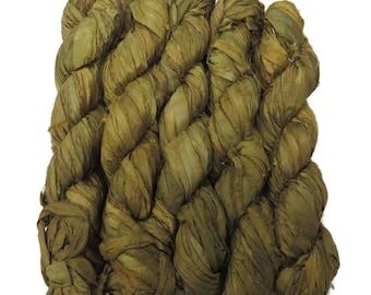 New! Premium  Sari Silk  Ribbon yarn ,  100g , color: Khaki