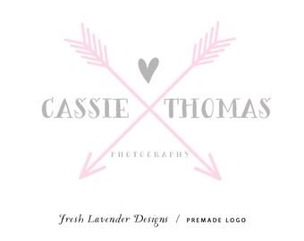 Logo personnalisé Premade conception de Logo et filigrane pour les photographes et les flèches dessinées à la main petites Boutiques rusé avec coeur
