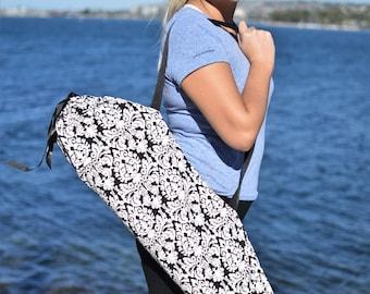 Black and White Baroque Yoga Mat Bag