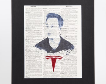 Elon Musk Tesla, Unique Artwork with Sparks of Glitter on Vintage Dictionary Page, Wall Decor