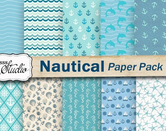 Nautical Paper digital, Printable Scrapbook Paper, Marine Paper Pack, Sea Blue paper, Craft Supplies, Background paper, water paper, collage