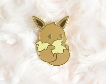Cute Chubby Eevee Eeveelution Kawaii Fox Animal Pokemon Hard Enamel Pin Lapel Pin