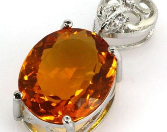 Sterling Silver Golden Citrine Gemstone & AAA CZ Accent Pendant