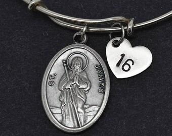 St James Bangle, Sterling Silver Bangle, St James Bracelet, Bridesmaid gift, Personalized Bracelet, Charm Bangle, initial Bracelet