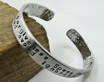 Personalized Cuff Bracelet - Aluminum Hand Stamped Braclet - Hammered on the back - Up to 60 Characters in two lines - Both sides engreved