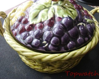 Sarrequemines French Majolica Lidded Grapes Basket, Circa 1899-1922, On Sale