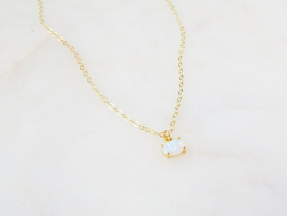 Dainty Opal Necklace | Opal Necklace | Opal Jewelry | Minimalist Jewelry | Simple Necklace | Gift For Her | Tiny Opal Necklace