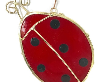 Stained glass lady bug suncatcher