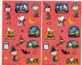 SALE Peanuts Halloween Sandylion Lot of Two Maxi Sticker Sheets - Snoopy Lucy Charlie Brown Ghost Bat Dracula Pumpkin Witch Collectible