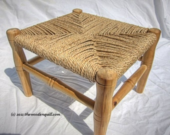Heirloom Wood Child's Step Stool - Gift For Kids - Grandparents Great Gift - Woven Seagrass Seat