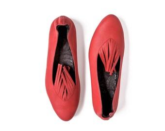 Red ballet flats leather handmade Pink elegant wedding heels, handmade high quality leather shoes