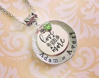 """Love You More - Name Necklace with up to 3 names (1.25"""")"""