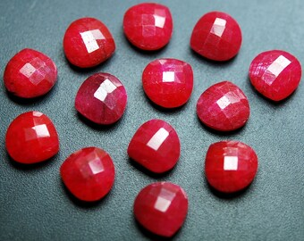 3 Matched Pair,Dyed Natural Ruby Faceted Heart Shape,10mm Size.