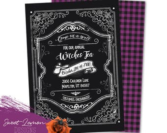 Witches Tea Party Invitation Vintage