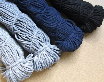 Braided Cotton Cord Macrame Cord Black Grey Navy Colors size 5 Optional Lengths Cotton Rope DIY Crotchet Cord