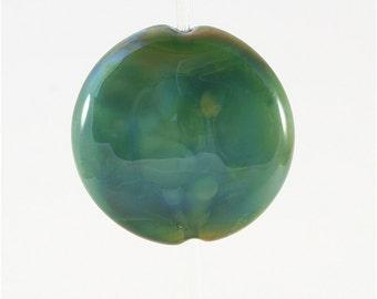 Lampwork Glass Bead Handmade Lentil Shaped Focal Green SRA DUST Team LE Team AWHIMteam
