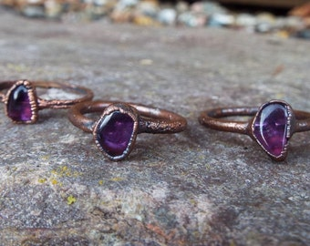Amethystring, raw amethyst, gemstone ring, crystal ring, copper ring, Boho ring, crystal ring, raw crystal ring, healing stone ring, Electroformed