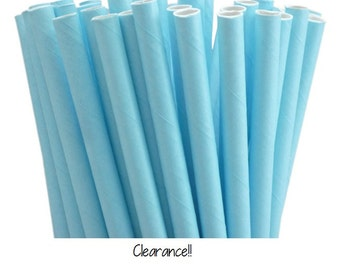 Solid Light Blue Paper Straws
