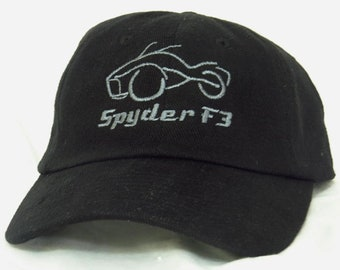 Cap / baseball hat / adult / embroidered Can-Am Spyder F3 (spider) black