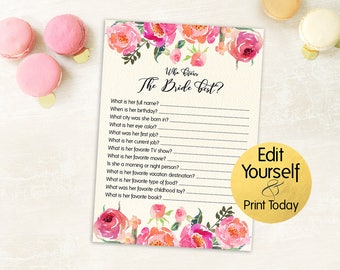 how well do you know the bride bridal shower games template