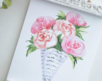 Flower Bouquet in Newspaper (Watercolor Illustration - Floral Art Print - Art - Home Decor - Wall Art - Farmhouse Decor)