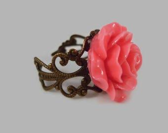 Hot Pink Rose Ring Adjustable Antique Bronze Filigree Rose Jewelry Flower Ring