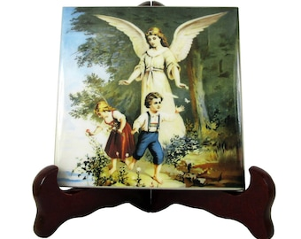 Baptism gift - Guardian Angel - Christening gift - collectible ceramic tile - Guardian Angel art - Baptism favor - Christening favor
